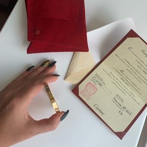 Rose Gold Cartier sz17 love bracelet w diamonds